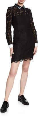 Valentino Scalloped Lace Sheath Dress w/ Leather Collar