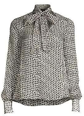 Saloni Women's Lauren Diamond Print Tie Neck Blouse