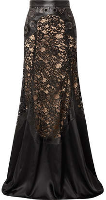 Elie Saab Paneled Laser-cut Satin And Corded Lace Maxi Skirt - Black