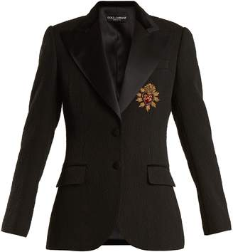 Dolce & Gabbana Embellished peak-lapel cotton-blend blazer
