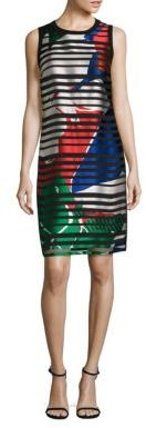 BOSS Danyna Floral Silk Blend Striped Sheath Dress $745 thestylecure.com