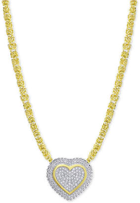 Townsend Victoria Diamond Heart Byzantine Pendant Necklace (1/2 ct. t.w.) in 18k Gold-Plated Sterling Silver