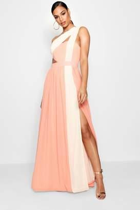 boohoo Boutique Ria Cut Out Colour Block Maxi Dress