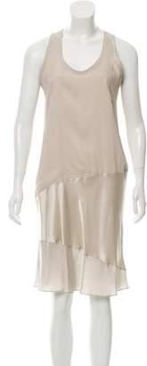 Brunello Cucinelli Satin-Paneled Silk Dress