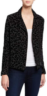 Neiman Marcus Majestic Paris for Leopard-Print Moto Jacket