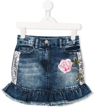 MonnaLisa embroidered floral denim skirt