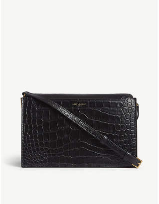 Saint Laurent Black Catherine Crocodile Embossed Leather Satchel