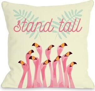 Flamingos Ivy Bronx Diep Stand Tall Throw Pillow Ivy Bronx