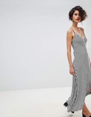 Warehouse Stripe Wrap Front Midi Dress