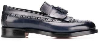 Santoni brogue detail loafers