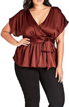 City Chic Tangled Faux Wrap Top