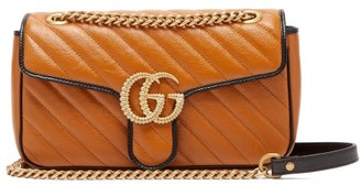 Gucci Gg Marmont Small Quilted Leather Shoulder Bag - Womens - Light Tan