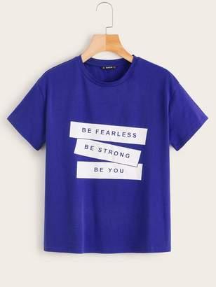 Shein Slogan Print Short Sleeve Top