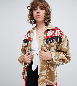 Reclaimed Vintage revived fringed military jacket