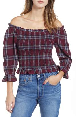 Moon River Plaid Smocked Off the Shoulder Top