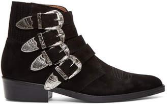 Toga Virilis Black Suede Buckled Boots