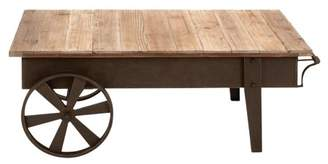 Factory DecMode Decmode 17 X 45 Inch Industrial Iron and Fir Wood Cart Coffee Table, Brown