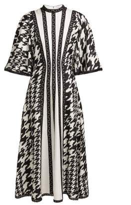 Andrew Gn Houndstooth Print Silk And Lace Midi Dress - Womens - Black White