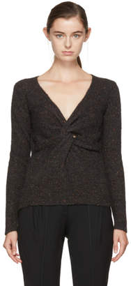 Isabel Marant Grey Edge Twisted Donegal V-Neck Sweater