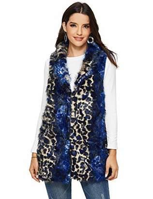 MEHEPBURN Women's Leopard Faux Fur Short Vest Waistcoat Sleeveless Jacket Outwear S