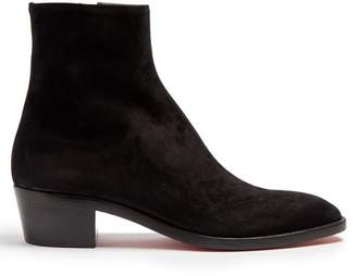 Christian Louboutin Huston Suede Ankle Boots - Mens - Black
