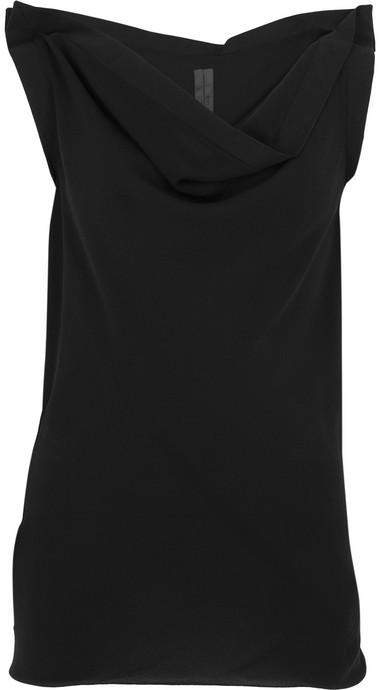 Rick Owens Silk-georgette cowl-neck top