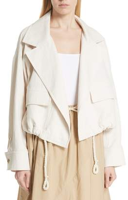 Vince Drawstring Crop Cotton Jacket