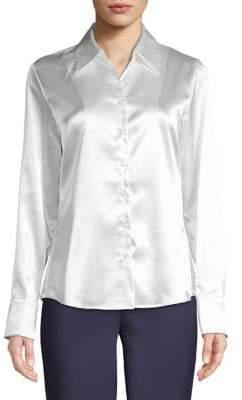 Kasper Suits Classic Long-Sleeve Satin Shirt