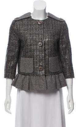 RED Valentino Button-Up Tweed Jacket