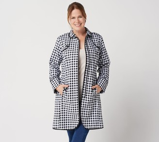 Isaac Mizrahi Live! Gingham Trench Coat with Piping Detail