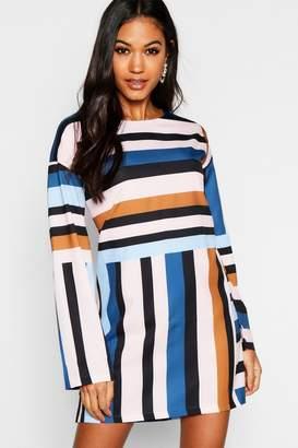 boohoo Long Sleeve Mixed Stripe Shift Dress