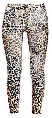 L'Agence Women's Margot High-Rise Foil Leopard-Print Skinny Jeans