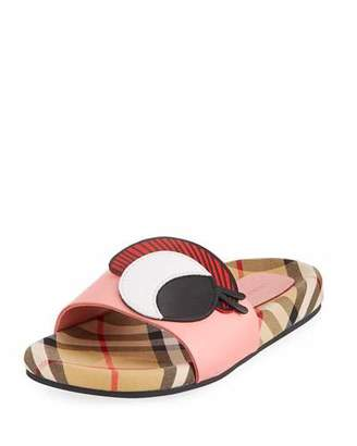Burberry Coslin Googly Eye Check & Leather Slide Sandal, Toddler/Kids