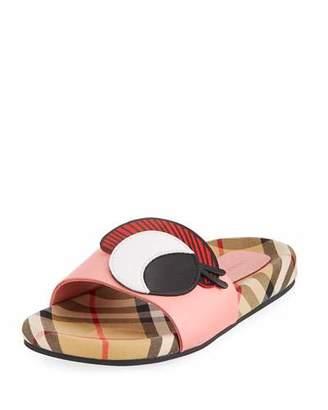 Burberry Coslin Googly Eye Check & Leather Slide Sandal, Toddler/Kids