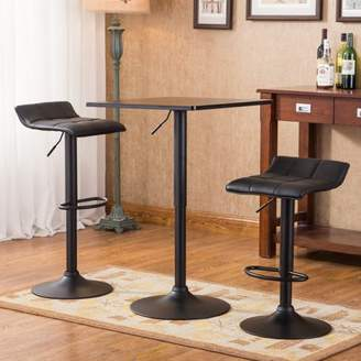 Roundhill Furniture Belham Black Square Top Adjustable Height with Black Leg And Base Metal Bar Table and 2 Swivel Black Bonded Leather Adjustable Bar Stool Bar Sets