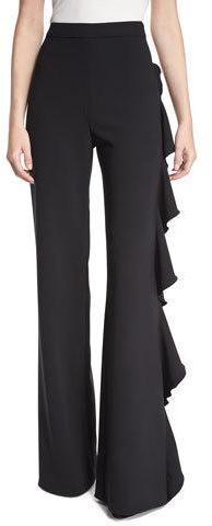 AlexisAlexis Karlina Ruffle-Trim Wide-Leg Pants, Black