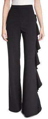Alexis Karlina Ruffle-Trim Wide-Leg Pants, Black $436 thestylecure.com