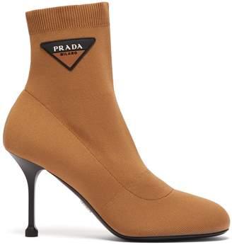 Stretch Knit Logo AppliquA Ankle Boots - Womens - Beige