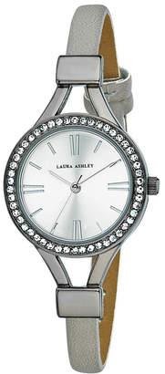 Laura Ashley Ladies' Gun Metal Thin Strap Silver Case Crystal Bezel Watch