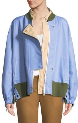 No.21 No. 21 Asymmetric Oversized Striped Sport Jacket