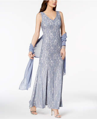 Alex Evenings V-Neck Glitter Lace Gown with Shawl
