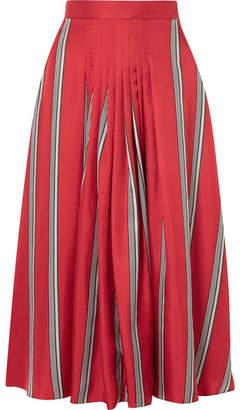 Roksanda Thaki Pleated Striped Silk-twill Midi Skirt - Tomato red