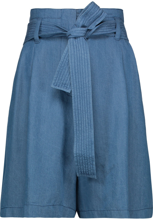 3.1 Phillip Lim3.1 Phillip Lim Belted pleated chambray shorts