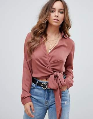 PrettyLittleThing wrap tie waist blouse in pink