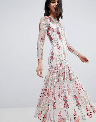 Asos Edition EDITION Floral Embroidered Drop Waist Maxi Dress