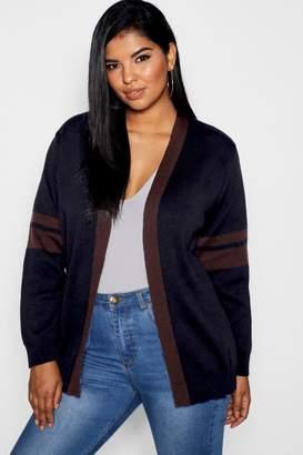 boohoo Plus Stripe Contrast Oversized Cardigan