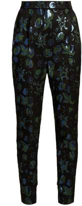 Dolce & Gabbana Floral-brocade high-waist cigarette trousers