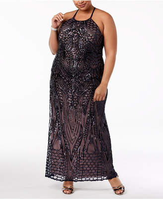 78b140367c2 Morgan   Company Trendy Plus Size Sequin-Patterned Backless Gown