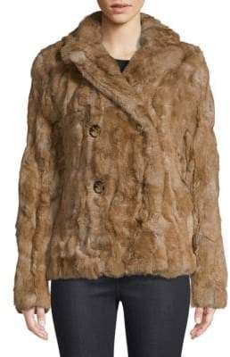 Adrienne Landau Dyed Rex Rabbit-Fur Pea Coat