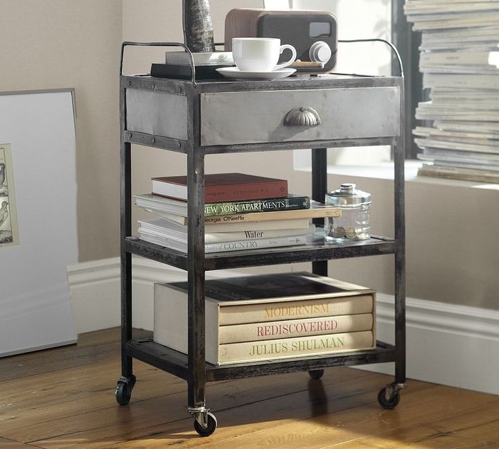 Pottery Barn Metal Rolling Cart Bedside Table